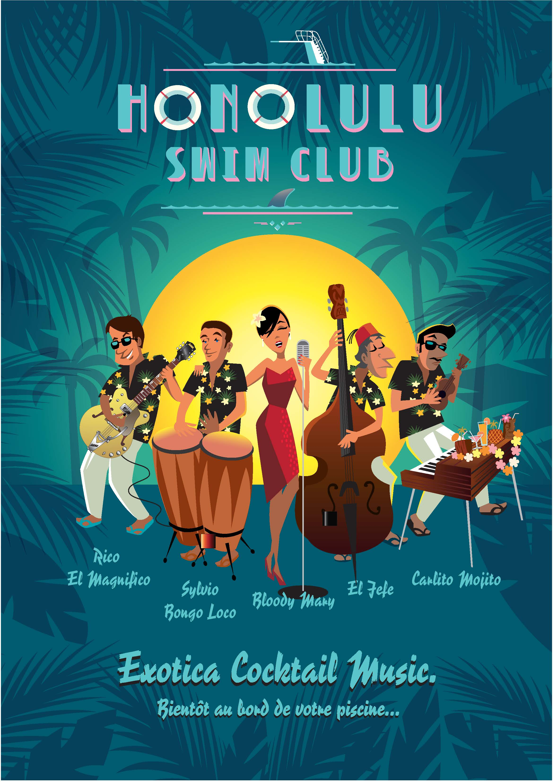 "DINER CONCERT ""HONOLULU SWIM CLUB"" par HONOLULU TIKKI BEACH Charlie Adam et son groupe"